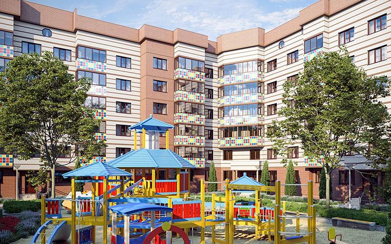 Новостройка в Лобне микрорайон «Лобня Сити», Подмосковье. Детская площадка.