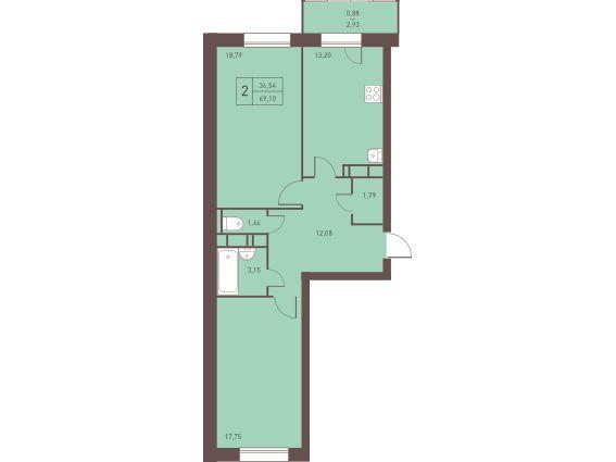 Двухкомнатная квартира в Железнодорожном. Новостройка Жилой Комплекс «Столичный» в Подмосковье