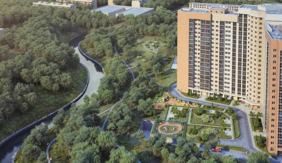 Новостройка Восточного округа Москвы ЖК «Яуза Парк». Вид сверху.
