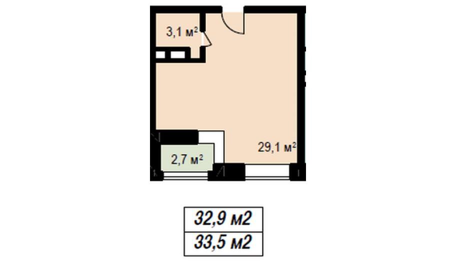 Однокомнатная квартира в Балашихе. Новостройка ЖК «Акварели» в Подмосковье