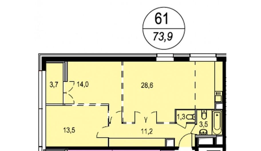 Трехкомнатная квартира в Балашихе. Новостройка ЖК «Акварели» в Подмосковье