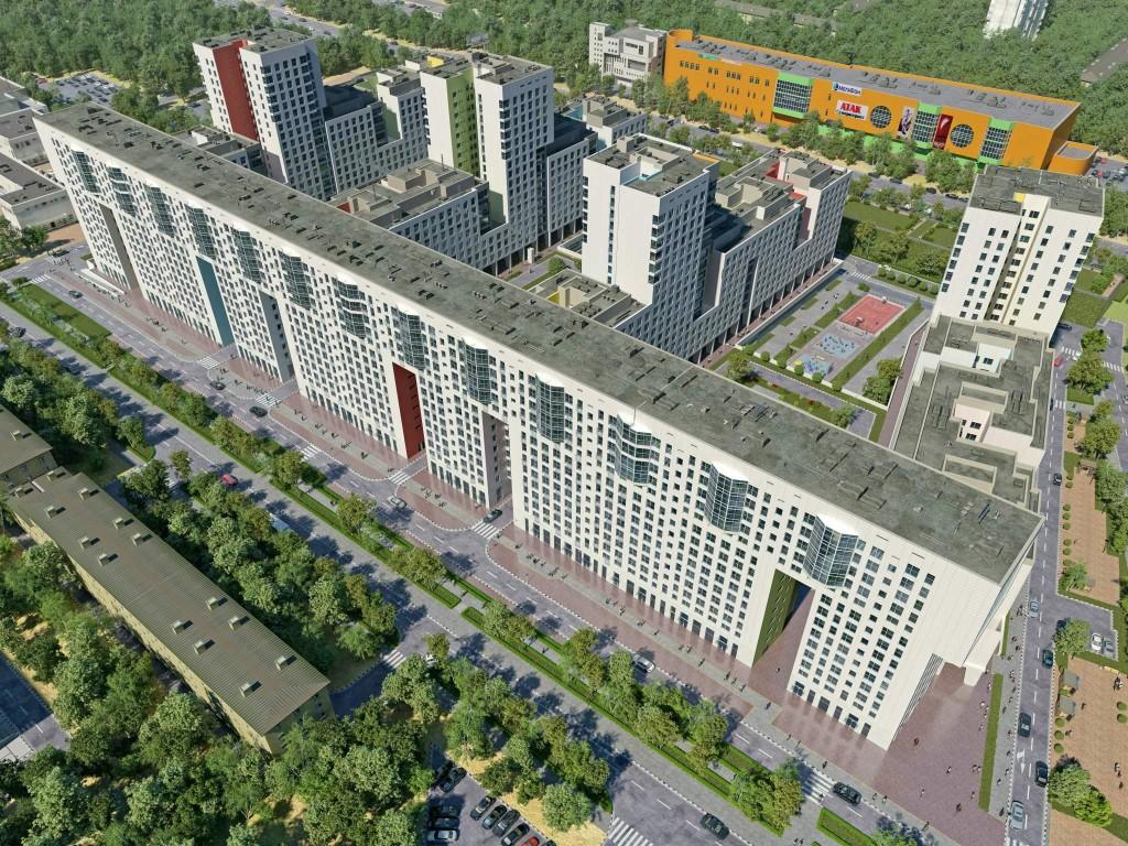 Новостройка в Балашихе ЖК «Акварели», Подмосковье. Вид сверху, общий план.
