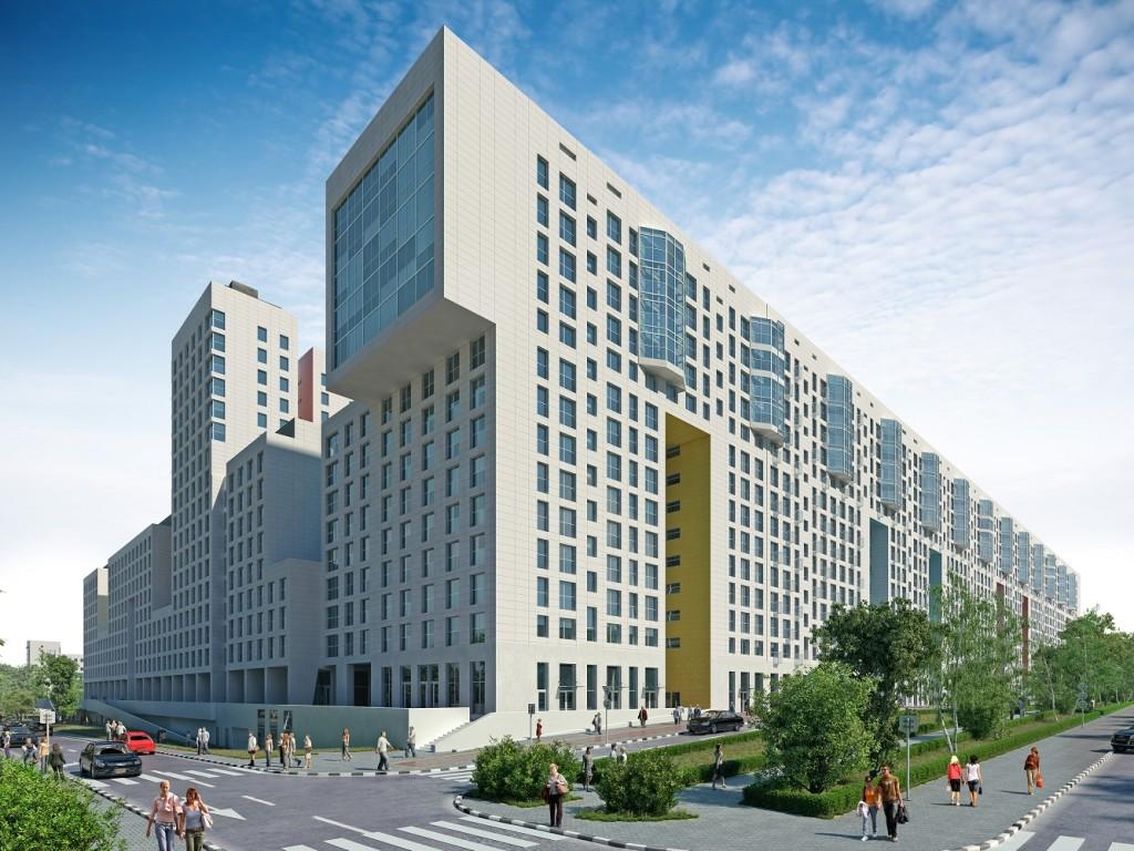 Новостройка жилой комплекс «Акварели» в Подмосковье, Балашиха. Вид с аллеи.