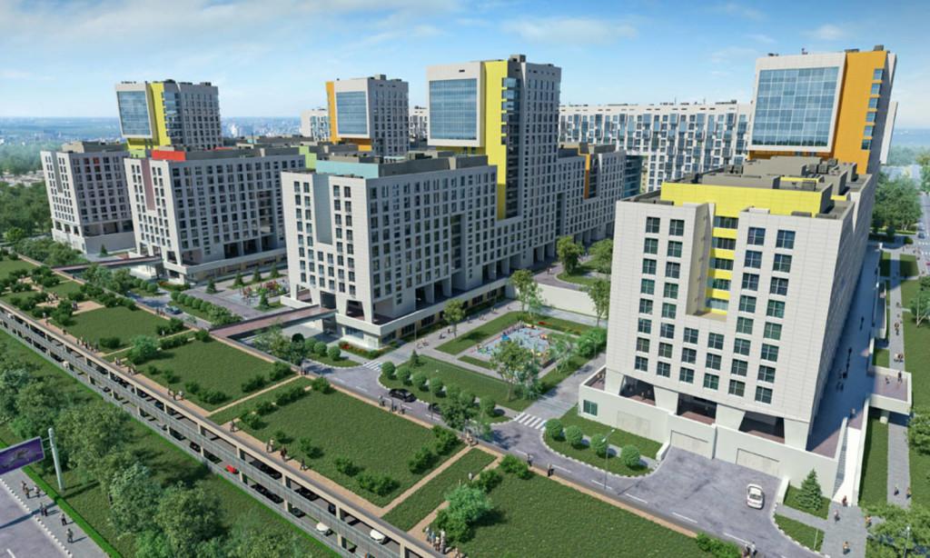 Новостройка жилой комплекс «Акварели» в Подмосковье, Балашиха. Общий вид.