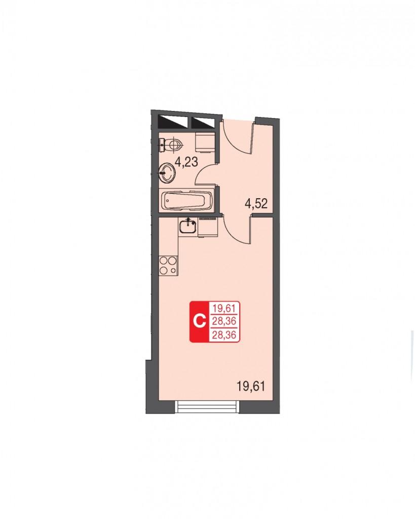 Однокомнатная квартира-студия в Подмосковье на Дмитровском шоссе от ЖК «Федоскинская слобода»