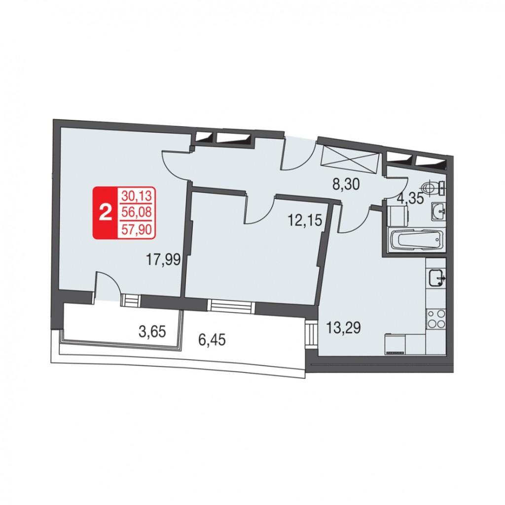 Двухкомнатная квартира в Подмосковье на Дмитровском шоссе от ЖК «Федоскинская слобода»