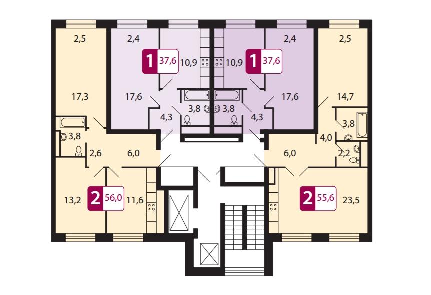 Поэтажные планы квартир в новостройке микрорайон «Эко Видное 2.0» в Москве, Видное. Одно- и двухкомнатные квартиры.