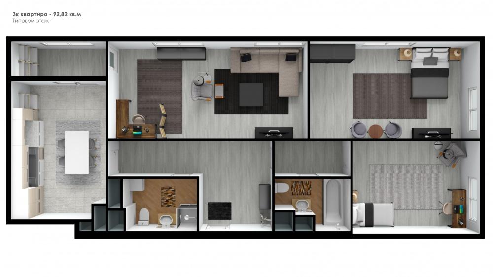Трехкомнатная квартира в Москве в новостройке ЖК «Родной город. Октябрьское поле» в Щукино